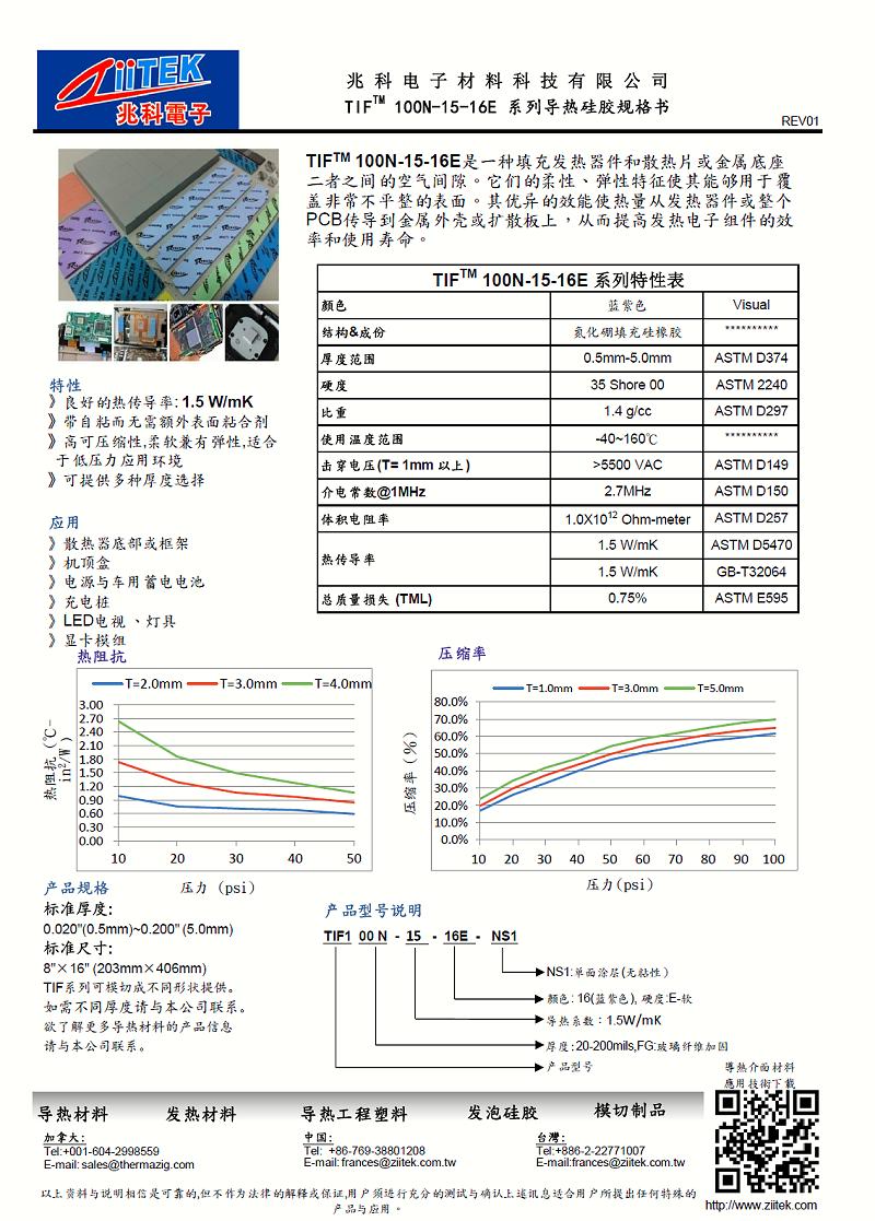 TIF100N-15-16导热硅胶片充电桩应用