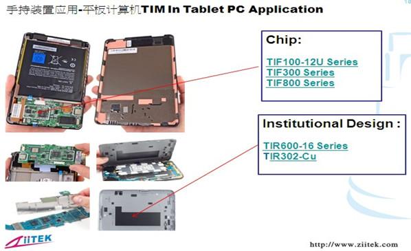 兆科TIF导热材料在平板计算机的应用